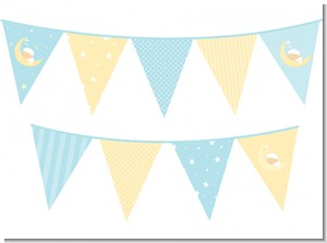 Over The Moon Boy - Baby Shower Themed Pennant Set