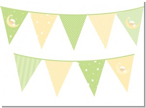 Over The Moon - Baby Shower Themed Pennant Set