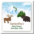 Moose and Bear - Square Personalized Baby Shower Sticker Labels thumbnail