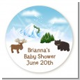 Moose and Bear - Round Personalized Baby Shower Sticker Labels thumbnail
