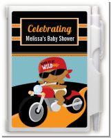 Motorcycle African American Baby Boy - Baby Shower Personalized Notebook Favor