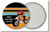 Motorcycle African American Baby Boy - Personalized Baby Shower Pocket Mirror Favors
