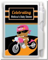 Motorcycle African American Baby Girl - Baby Shower Personalized Notebook Favor