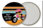 Motorcycle African American Baby Girl - Personalized Baby Shower Pocket Mirror Favors