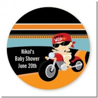Motorcycle Baby - Round Personalized Baby Shower Sticker Labels