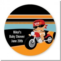 Motorcycle Hispanic Baby Boy - Round Personalized Baby Shower Sticker Labels