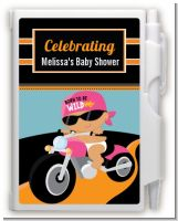 Motorcycle Hispanic Baby Girl - Baby Shower Personalized Notebook Favor