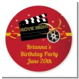 Movie Night - Round Personalized Birthday Party Sticker Labels thumbnail