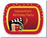 Movie Night - Personalized Birthday Party Rounded Corner Stickers