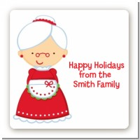 Mrs. Santa - Square Personalized Christmas Sticker Labels