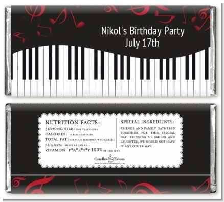 Musical Notes Black and White - Personalized Birthday Party Candy Bar Wrappers