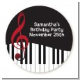 Musical Notes Black and White - Round Personalized Birthday Party Sticker Labels thumbnail