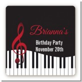 Musical Notes Black and White - Square Personalized Birthday Party Sticker Labels