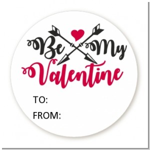 My Valentine - Round Personalized Valentines Day Sticker Labels
