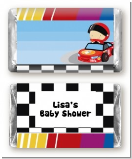 Nascar Inspired Racing - Personalized Baby Shower Mini Candy Bar Wrappers
