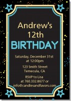 Neon Blue Glow In The Dark - Birthday Party Invitations