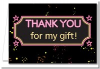 Neon Pink Glow In The Dark - Birthday Party Thank You Cards
