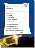 Nerf Gun - Birthday Party Fill In Thank You Cards