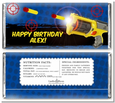 Nerf Gun - Personalized Birthday Party Candy Bar Wrappers
