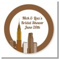 New York City Skyline - Round Personalized Bridal Shower Sticker Labels thumbnail
