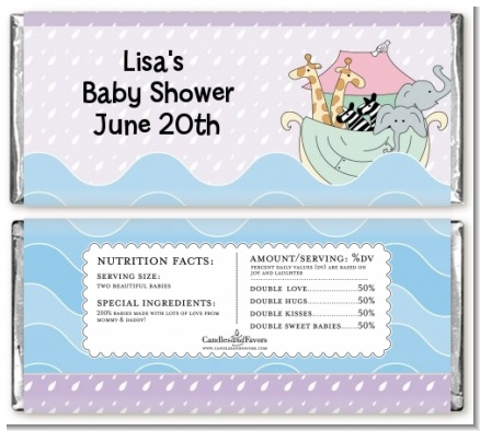 Noah's Ark Twins - Personalized Baby Shower Candy Bar Wrappers