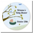 Nursery Rhyme - Rock a Bye Baby - Round Personalized Baby Shower Sticker Labels thumbnail