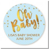 Oh Baby Shower Boy - Round Personalized Baby Shower Sticker Labels