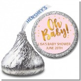Oh Baby Shower Girl - Hershey Kiss Baby Shower Sticker Labels