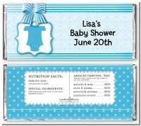 Baby Outfit Blue - Personalized Baby Shower Candy Bar Wrappers