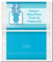 Baby Outfit Blue - Personalized Popcorn Wrapper Baby Shower Favors