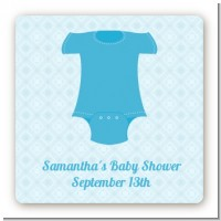 Baby Outfit Blue - Square Personalized Baby Shower Sticker Labels