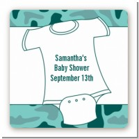 Baby Outfit Green Camo - Square Personalized Baby Shower Sticker Labels