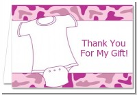 Baby Outfit Pink Camo - Baby Shower Thank You Cards