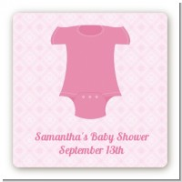 Baby Outfit Pink - Square Personalized Baby Shower Sticker Labels