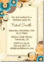 Orange & Blue Floral - Birthday Party Invitations