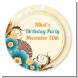 Orange & Blue Floral - Round Personalized Birthday Party Sticker Labels thumbnail
