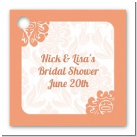 Orange Damask - Personalized Bridal Shower Card Stock Favor Tags