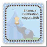 Our Little Peanut Boy - Square Personalized Baby Shower Sticker Labels
