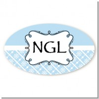 Modern Thatch Light Blue - Personalized Everyday Party Oval Sticker/Labels