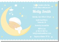 Over The Moon Boy - Baby Shower Invitations