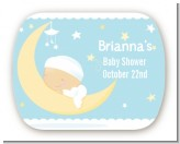 Over The Moon Boy - Personalized Baby Shower Rounded Corner Stickers