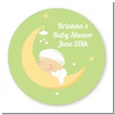 Over The Moon - Round Personalized Baby Shower Sticker Labels