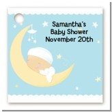 Over The Moon Boy - Personalized Baby Shower Card Stock Favor Tags