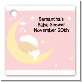 Over The Moon Girl - Personalized Baby Shower Card Stock Favor Tags