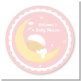 Over The Moon Girl - Round Personalized Baby Shower Sticker Labels