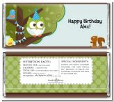 Owl Birthday Boy - Personalized Birthday Party Candy Bar Wrappers