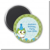 Owl Birthday Boy - Personalized Birthday Party Magnet Favors