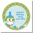 Owl Birthday Boy - Round Personalized Birthday Party Sticker Labels thumbnail