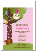 Owl Birthday Girl - Birthday Party Petite Invitations