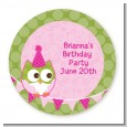 Owl Birthday Girl - Round Personalized Birthday Party Sticker Labels thumbnail